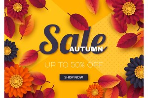 Autumn sale banner with 3d leaves and flowers. Yellow background - template for seasonal discounts, vector illustration.