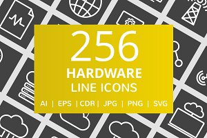 256 Hardware Line Inverted Icons