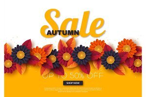 Autumn sale banner with 3d leaves and flowers. Yellow, white background - template for seasonal discounts, vector illustration.