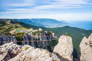 View of peak Ai-Petri and main area in Ai-Petri and cablewa. Crimea. Main ridge of Crimean mountains. An array Ai-Petri Yayla.