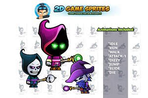 Evil Mage 2D Game Sprites set