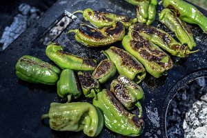 Green peppers grilling