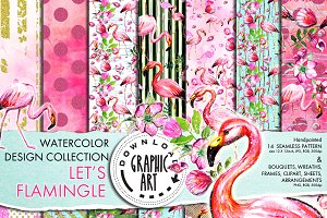 Flamingo Digital Pattern Paper Set