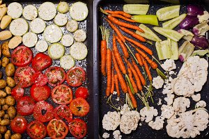 The delicious vegetables for roasting
