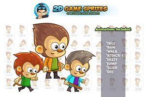 Monkeys 2D Game sprites Set