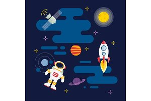 Vector flat space illustration