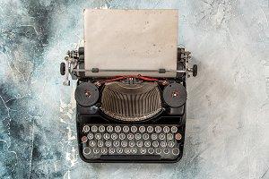 Vintage typewriter top view