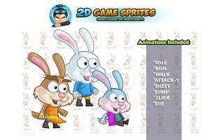 Bunny 2D Game Sprites Set
