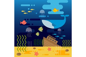 Sea life vector illustration