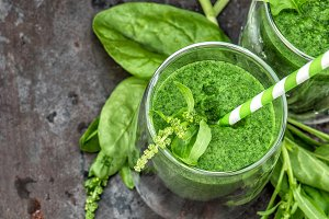 Healthy smoothie green spinach leaf