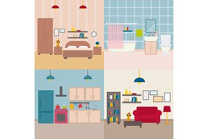 Set of vector flat apartment rooms