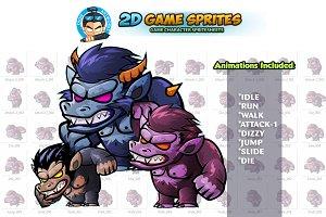 Beast Monster 2D Game sprites Set