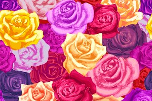 Colorful rosebuds, seamless pattern