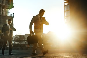 Men going to office early