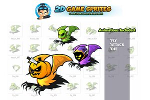Flying Monsters 2D Game sprites set