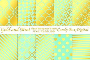 Gold Foil & Mint Background Papers
