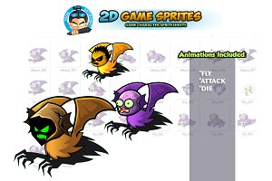Flying Monster Game Sprites Set