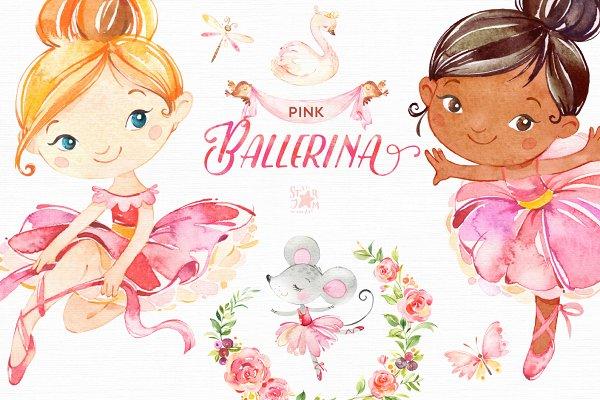 Pink Ballerina. Watercolor set.