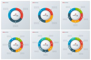 Set of modern style circle donut charts, infographic designs, vi