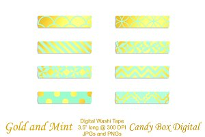 Gold Foil & Mint Digital Washi Tape
