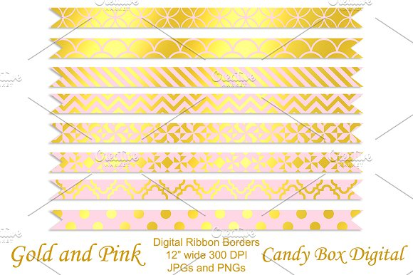 Gold Foil & Pink Ribbon Borders
