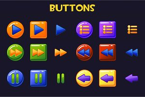 Colorful Game design Ui Buttons, cartoon button