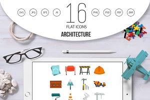 Architecture icons set, flat style