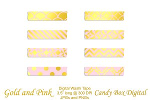 Gold Foil & Pink Washi Tape
