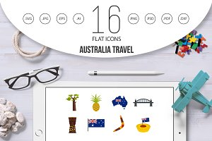 Australia travel icons set in flat
