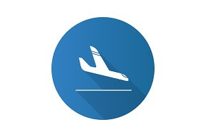Airplane arrival flat design long shadow glyph icon