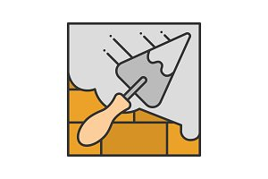 Brick wall with triangular shovel color icon