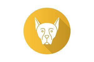 Doberman Pinscher flat design long shadow glyph icon