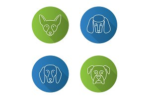 Dogs breeds flat linear long shadow icons set