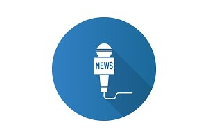 Microphone broadcasting news flat design long shadow glyph icon