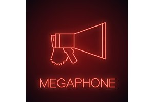 Megaphone neon light icon
