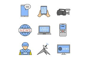 Mass media color icons set