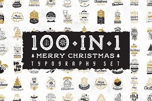 Merry Christmas typography. 100 in 1