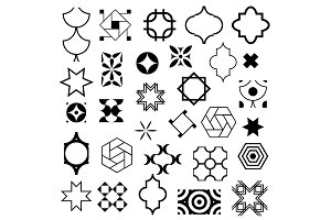 Typical abstract symbols in ornamental arabic style. Vector set of logo design templates. Vector, illustration.
