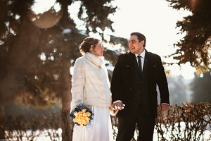 Lovers bride and groom on their winter wedding