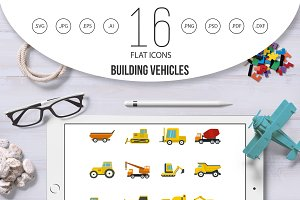 Building vehicles icons set in flat