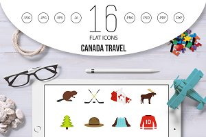 Canada travel icons set in flat