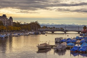 Zurich Boats At Sunset