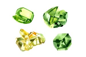 Crystals of color emerald PNG set