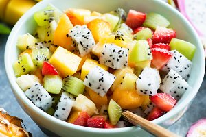 Fruit salad bowl with tropical fruit
