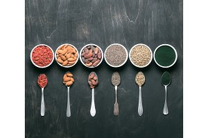 Superfood detox set ingredients, copy space