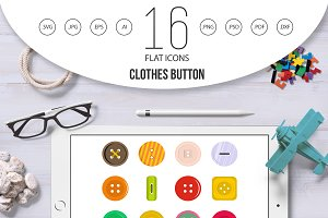 Clothes button icons set in flat