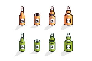 Isometric beer bottles