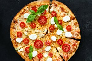 Pizza with mozzarella cheese
