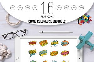 Comic colored sound icons set