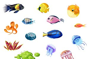 Cartoon Colorful Sea Life Set